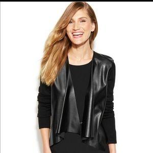 Calvin Klein faux leather panel drape-front shrug